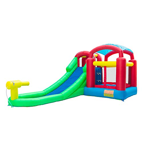 Laulry Inflatable Bouncer Jumping Bouncing House - Children Outdoor Jump Castle, Large Water Slide, Dunk Playhouse w/Basketball Rim, Full-Size Entry (from US, 18.7 x 11.6 x 8.2 Foot)