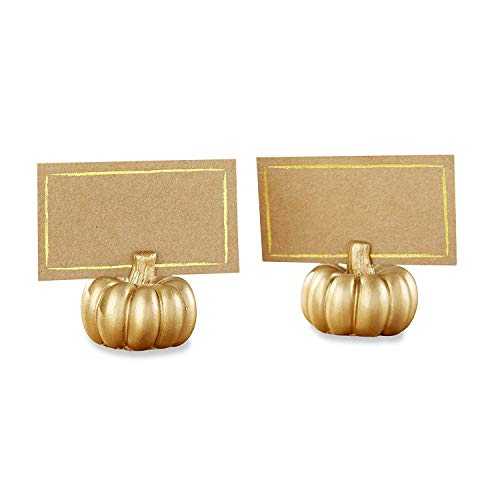 Kate Aspen Gold Pumpkin Place Card Holder, Perfect Wedding Favor, Thanksgiving Decor, Bachelorette Favor or Bridal Shower Favor - 6 Sets of 6, 36 Pieces