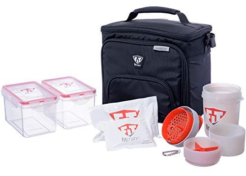 Fitmark Box Midnight Meal Prep Isoliertasche mit BPA-freien Portionskontroll-Mahlzeitbehälter, wiederverwendbare Kühlakkus