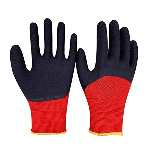ZhuFengshop handschoenen industriële handschoenen, gebreide pols manchet, voor precisie werk, voor mannen en vrouwen Tuinieren, DIY, (rood 12 paar per pak) beschermende handschoenen, werk, boerderij