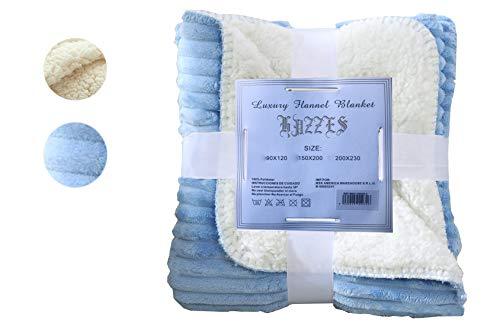 Hazzes Home® Mantas Raya de Franela Sherpa - Tela de Cepillo Extra Suave, Súper cálida, Manta de sofá acogedora y Ligera, Cuidado fácil … B07RJGTSFK (150x200cm, Azul)