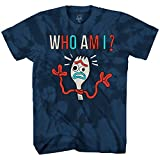 Disney Pixar Toy Story 4 Forky Who Am I Forkie Disneyland World Tee Funny Humor Men's Graphic T-Shirt (Navy Tie Dye, Small)