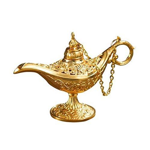 HUIJUNWENTI Vintage Aladdined Lampe Tee-Topf-Zink-Legierung Office Home Desktop-Dekor-Kollektion hochwertiges Russisches Spezial kreatives Metallhandwerk (Color : Golden)