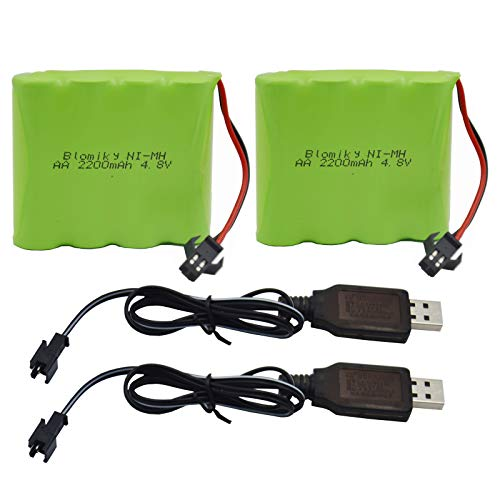 Blomiky 2 Pack 4.8V 2200mAH AA NiMH Rechargeable Battery with SM-2P Plug and USB Charger Cable for RC Truck Toy 4.8V 2200mAh NiMH Battery 2