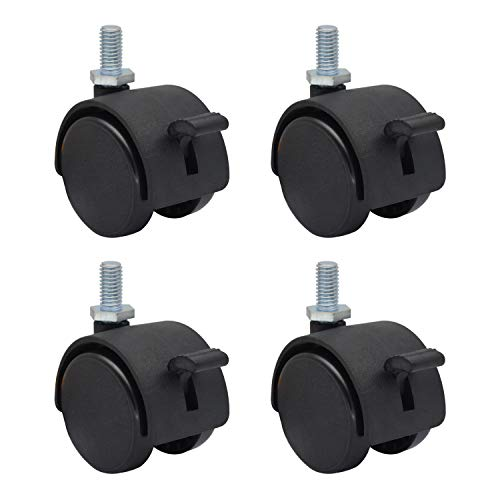 MySit 4 Pack 1.5 Inch Nylon Plastic Replacement Caster for Furniture Wheels, Office Chair Swivel Caster Metric Threaded Stem M8 x 15mm(Around 5/16'x 3/5') with Locking Brake