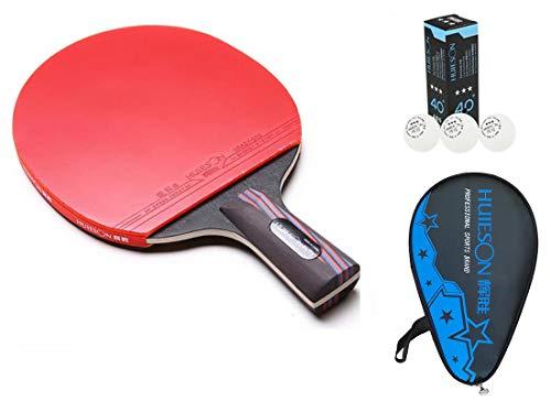 HUIESON de profesión Defensa Raqueta de Tenis de Mesa carbonización de la Madera Entrenamiento o Competencia Tabla Bate de Tenis Ping Pong Paddle (Corto)
