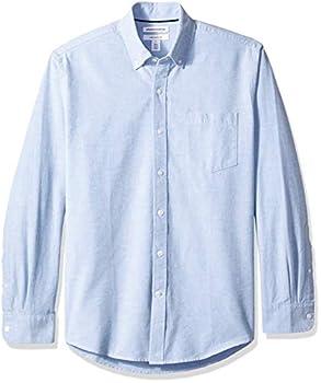 Amazon Essentials Men s Regular-Fit Long-Sleeve Solid Pocket Oxford Shirt Blue Medium