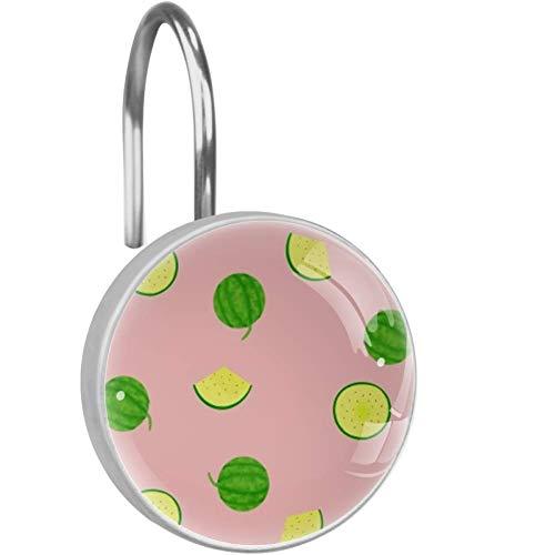 Duschvorhang-Haken, grün-gelb, Wassermelonen-Duschvorhang-Ringe, dekoratives Badezimmer-Dekor – Set von 12