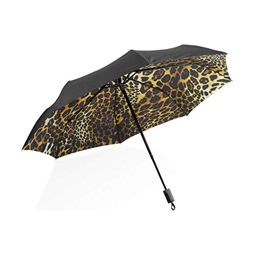 Paraguas personalizar 3 pliegues Resumen Animal Piel de leopardo Arte A prueba de viento Ligero Anti-UV