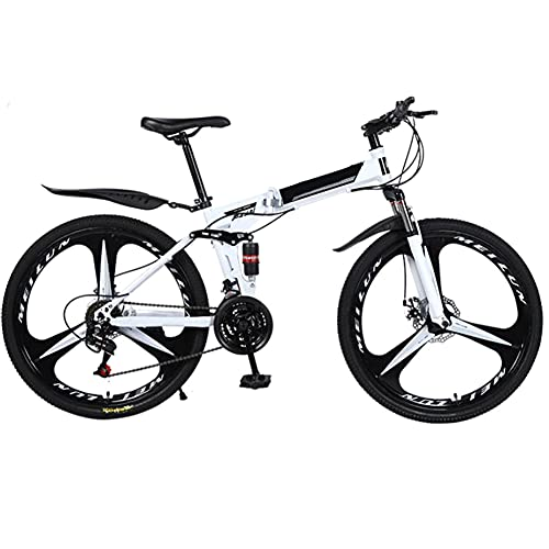 YGTMV Mountain Bikes Unisex,26-Inch Wheels Steel Frame Folding Bikes 24 Speed Shifting Dual Disc Brake Road Bicycle,White