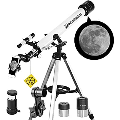 Telescope for Beginners and Kids-60mm Apeture 700mm Focus Length Telescope - Refractor & Travel Scope to Observe Moon and Planet with Tripod and 10mm Eyepiece Smartphone Mount