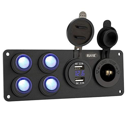 Rupse 4 Gang Switch Panel, Schalttafel Wasserdichte Ein von Digitalen Voltmeter + 12V Zigarette Socket + Double 4.2A USB Power Ladegerät + Digitale Voltmeter für Auto Boot Marine(DIY Schalter)