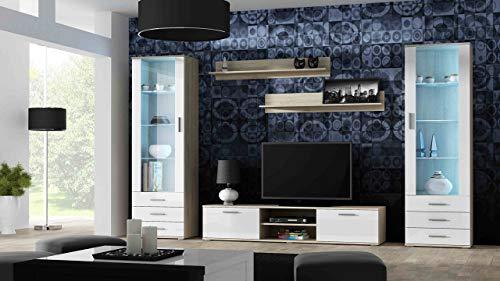 Wohnwand SOHO 4 mit Blauer LED Beleuchtung, Anbauwand, Wohnzimmerschrank, Schrankwand, Vitrine, Lowboard, Hängeregal (Sonoma/Weiß Hochglanz)