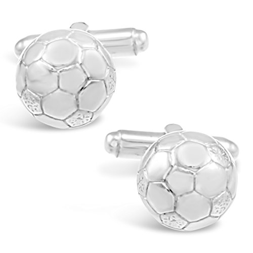 Gemelos de plata de ley con diseño de balón de fútbol, regalo para hombres