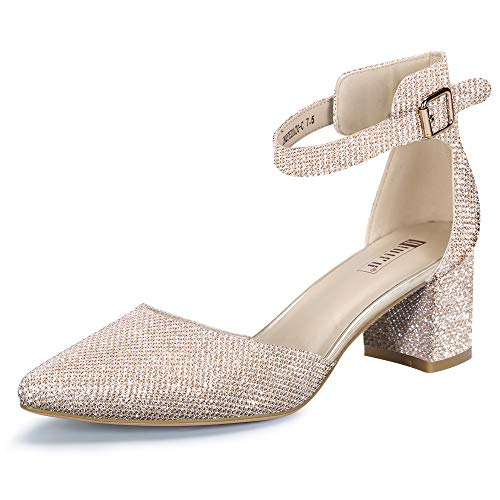 IDIFU Women's IN2 Pedazo Dress Shoes Low Block Heels Comfortable Chunky Closed Toe Ankle Strap Wedding Pumps(Gold Glitter, 8 B(M) US)