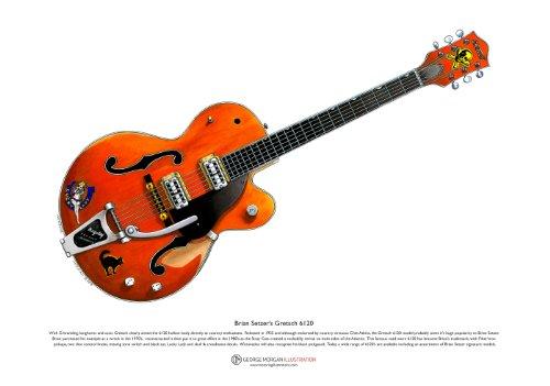 George Morgan Illustration Brian Setzer 6120 Gitarre Art Poster A3-Format