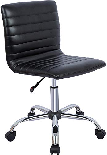 Home Office Chair Ergonomic Swivel Computer Desk Chairs, PU Leather Armless Executive Office Chair, Adjustable Height Low-Back Task Chair (Black)