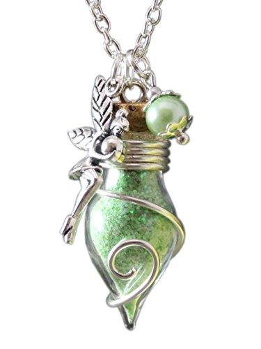 Cadena para mujer con amuleto de la suerte de frasco con polvo...