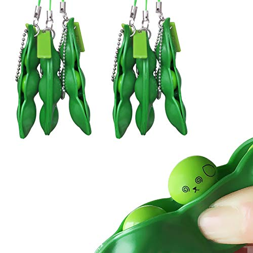 Acerich 6 Pack Edamame Keychain Fidget Toys - Squeeze-a-Bean Puchi Puti Mugen Keyring Pea Keychain Soybean Toys Gift