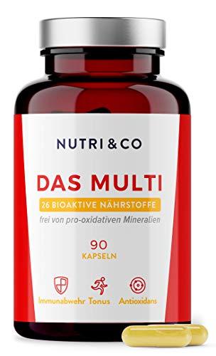 Multivitamin Komplex mit 26 Nährstoffen | Zink, Vitamine A, B, C, D3, E und K2 Bioaktiv & Mineralstoffe Hochdosiert | Vitalitätskomplex für Frauen & Männer | 90 Kapseln Vegan | Laborgeprüft | Nutri&Co