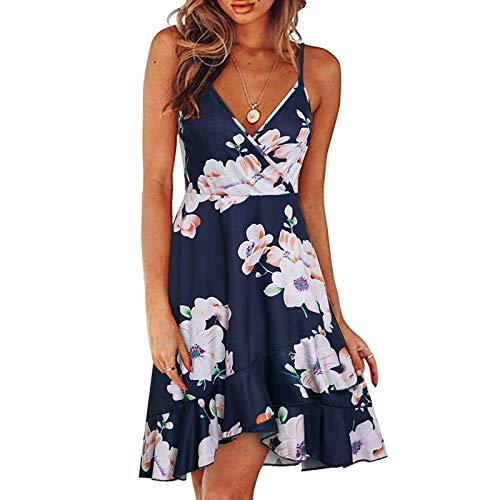 Vestido de playa para mujer, vestidos negros para mujer, sin mangas, con estampado de cuello redondo, casual, vestido de honda