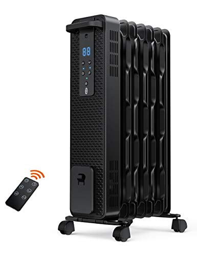 Space Heater, TaoTronics 1500W Oil Filled Radiator Heaters with 3 Heating Mode, 24-Hrs Timer for Auto-On & Off, Remote Control, Electric Portable Heater for Indoor Use Home Office, Large