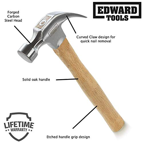 Edward Tools Oak Claw Hammer 16 oz - Heavy Duty All Purpose Hammer - Forged Carbon Steel Head - Etched Solid Oak Handle for more durability and grip (1)
