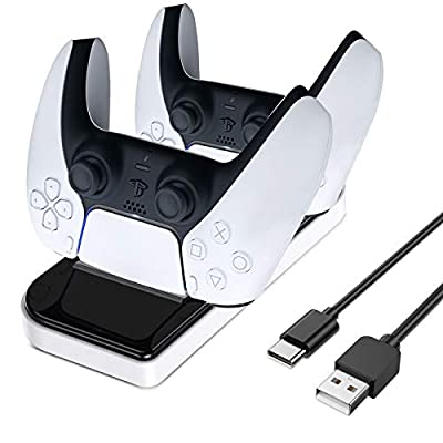 LORDSON PS5 Controller Charger, Dual USB Charging Dock Stand [Can Charge with Skin Protector On] Portable Base Station with Type-C Connector Compatible with Sony Dualsense PS5 Controller