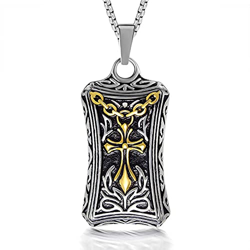 MINGDIAN Collar de Acero de Titanio para Hombre, Colgante, Cruz, Flor, Espada, Etiqueta de Oro