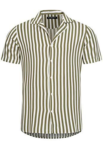 Redbridge Herren Hemd Freizeithemd Kurzarm Gestreift Regular Fit (XL, Khaki)