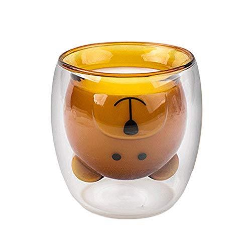 Volwco Süße doppelwandige Kaffeetassen, doppelwandige Thermo-Isolierung, Glas-Kaffeebecher, klare Teetasse zum Trinken – (8,45 Oz, 250 ml) Brown Bear