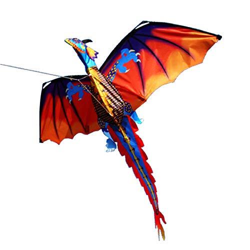 AZX Bunt 3D Kinder Drachen Kite 120 * 140cm Long Tail lebensechte Dinosaurier Kite Spielzeug 100m Einzellinie mit Schwanz Outdoor Erwachsene Kinder Aktivitäten Spiele Spielzeug