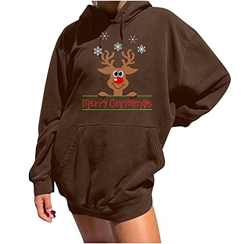 AOCRD Jersey de Navidad para mujer, con impresión navideña, de punto, divertido, manga larga, cuello...