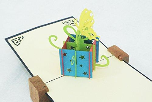 全100種以上 立体ポップアップ グリーティングカード立体誕生日ボックス蝶:HB-021 誕生日・ギフトカード・友達・ウェディング・おめでとう・結婚祝い・感謝状・告白・招待状・出産祝い・メッセージカード・バレンタイン