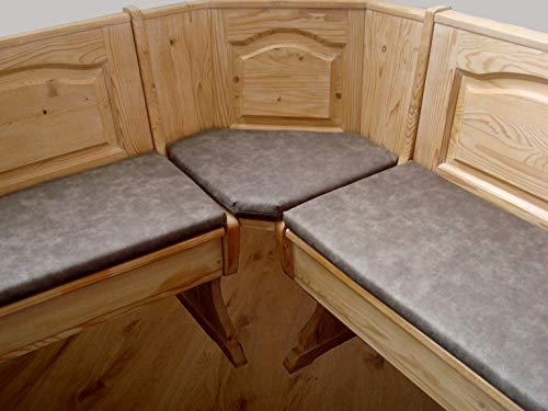 bequemer-sitzen Eckbankauflagen - Set, Eckbank-Polster, Lederoptik grau-braun 120 cm