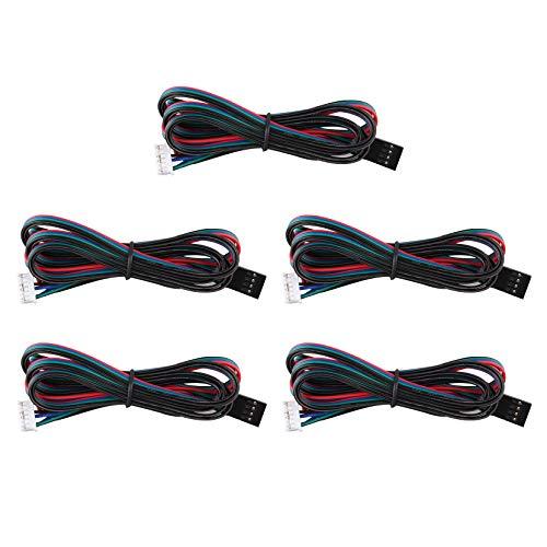 Jopto 5 x 1 m Bipolare Schrittmotorkabel 4-Polig Nema17 Verbindungskabel Kabelband 4-Polig Kabel 42 Motor für 3D-Drucker CNC-Maschinen
