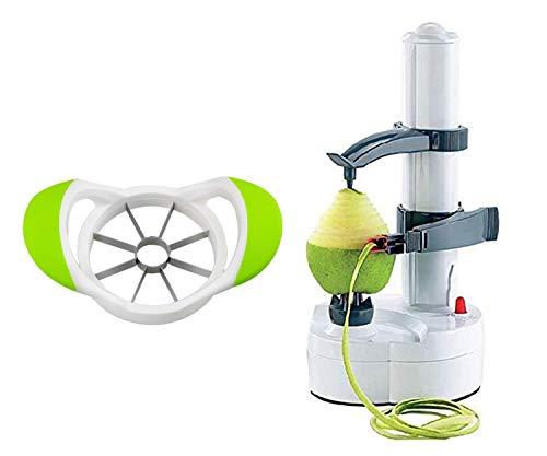 ARSUK Electric Peeler Potato Apple Peeling Machine Fruit Vegetable Spiralizer Cutter Automatic Rotating Kitchen Tool (Peeler With Slicer)