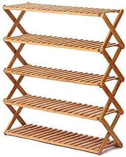 Étagère à chaussures pliante en bambou à 5 niveaux  Étagère à chaussures pour organisateur de rangement en bois massif po...