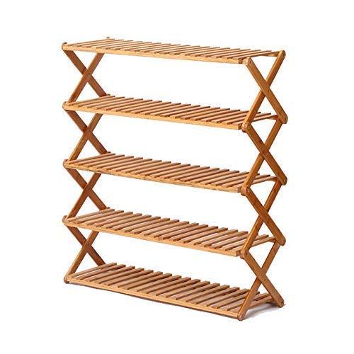 Zapatero de bambú plegable de 5 niveles |Del zapato del organizador del almacenamiento de madera maciza para el cuarto de baño del pasillo del pasillo |Estantes Apilables para Soporte de Flores Al