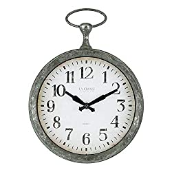 La Crosse 404-3828 9 Inch Pocket Watch Quartz Wall Clock, Green