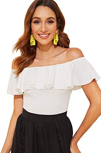 WDIRARA Women s Stretchy Off Shoulder Flounce Sleeve Sexy Slim Blouse Tops Shirt White M product image