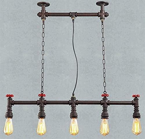 Accesorio de iluminación Vintage Industrial Colgante Lámpara de 5 luces Iron Rust Rusting Light Metal Tubo de agua Chandelier E27 Retro Lámpara Colgante Antigua Nostalgia Suspensión Luz Rustic Comedor