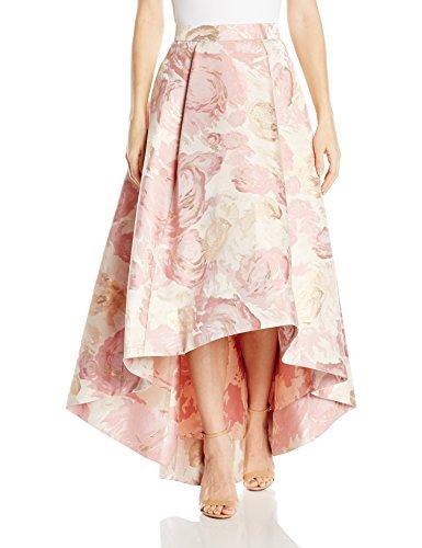 Eliza J Women's High-Low Floral Skirt, Gold, 12