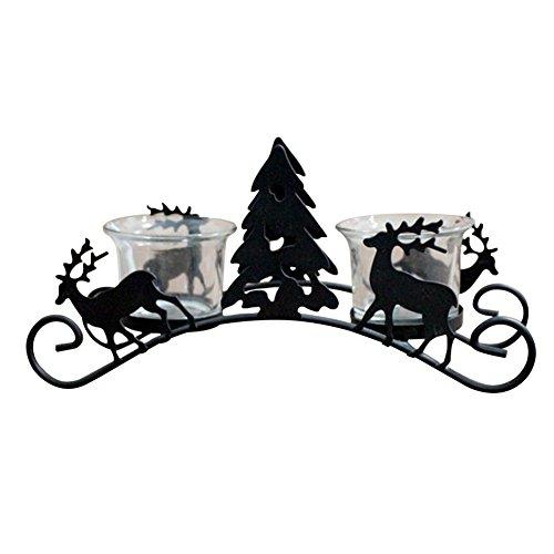 Lumanuby 1x Vintage Reno Trineo portavelas de Mesa Decorativo con árbol de Navidad de Wind Luces con 2Vela...