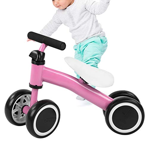 Ejoyous Baby Balance Bikes, Baby Toddler Tricycle Bike Baby Balance Scooter Baby Walker Push Bike with Eva Mute Foaming Wheel and Safe 135‑degree Steering Limit for 1-3 Year Old Boys Girls(pink)