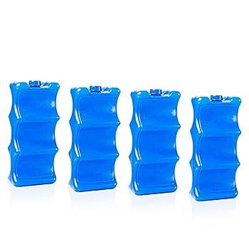 4 pièces Pains Glace Bleu,Blocs Réfrigérants,Eléments Refroidissement,Pain Glace Fin,Réutilisable Conception Mince et Légère, pour Sacs/boîtes à Lunch, Sac à Dos Isotherme, Camping, Plage, Pique-Nique