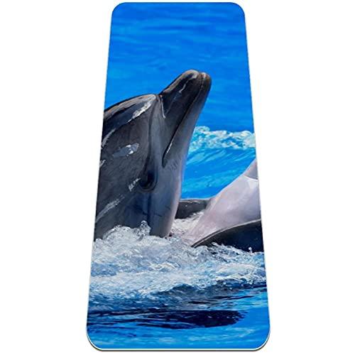 Esterilla de yoga, antideslizante de TPE para ejercicio, respetuosa con el medio ambiente, para mujeres y hombres, para yoga, pilates y gimnasia, delfín marino azul