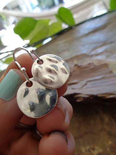 ✿ KLEINE GEHÄMMERTE SCHEIBEN AN FORMSCHÖNEN 925 SILBER HAKEN ✿ echt Silber Haken Ohrringe mit Plättchen