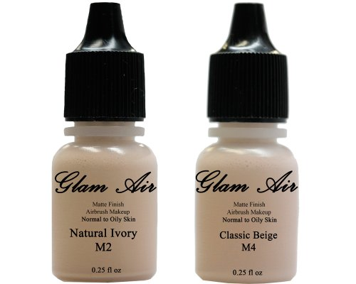 Airbrush Makeup Foundation Tapis M2 Natural Ivory and M4 Classic Beige Water Based Makeup Long Lasting All Day Without smearing Running, Fading or caking 0.25 Oz Bottle by Glam Air by glamair