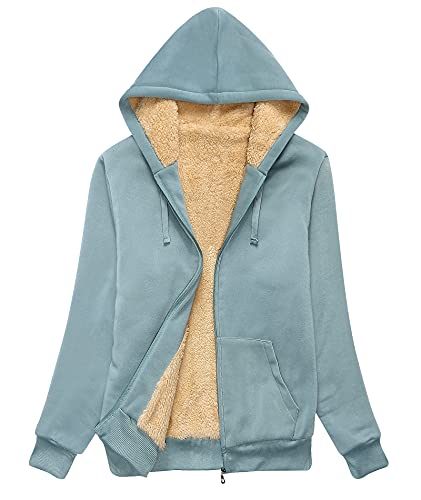 SWISSWELL Hoodies for Women Winter Fleece Sweatshirt - Full Zip Up Thick Sherpa Lined Greyish-green M